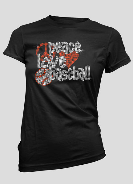 Peace Love Baseball mega bling shirt