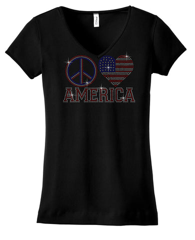 peace, heart and AMERICA bling shirt