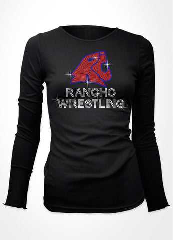 Rancho logo in rhinestones with wrestling shirt