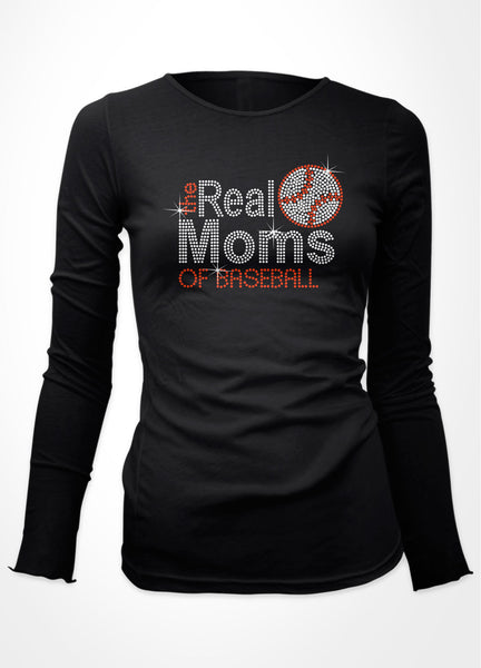 Rhinestone the Real Moms of Baseball bling shirt