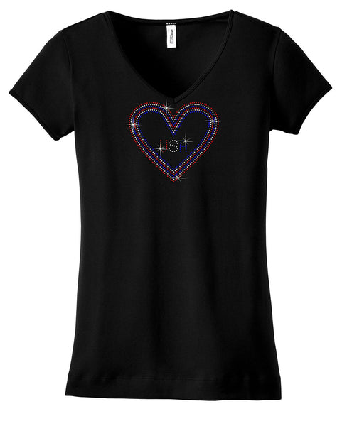 USA inside heart bling shirt