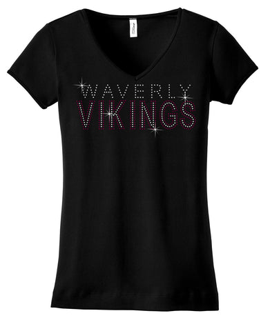 Waverly Vikings in maroon and clear rhinestones on shirt