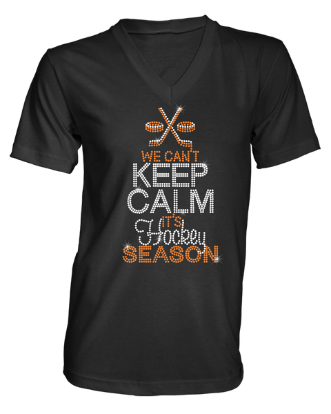We Can't Keep Calm it's Hockey Season bling rhinestone shirt
