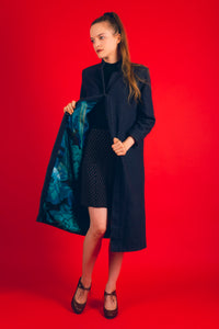 Sorry for Laughing reversible silk wool coat