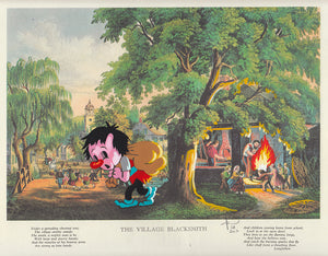 Original paper framed - The Village Blacksmith