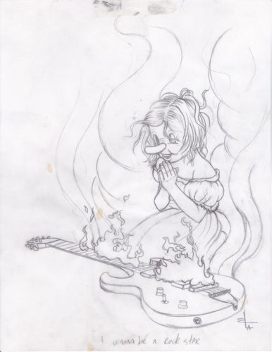 Original sketch framed - A Wanna Be A Rock Star