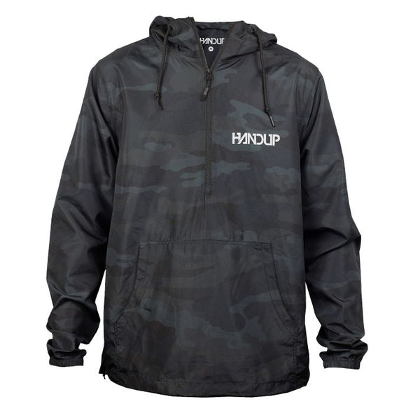 Windbreaker Half Zip Pullover - Black Camo