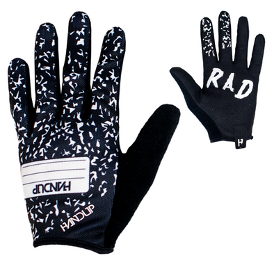 Handup Mountain bike gloves that say Get rad on the palms. These composition note book gloves are ready for any day on the trail. Mtb Gloves
