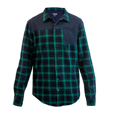 FlexTop Flannel - Green & Navy