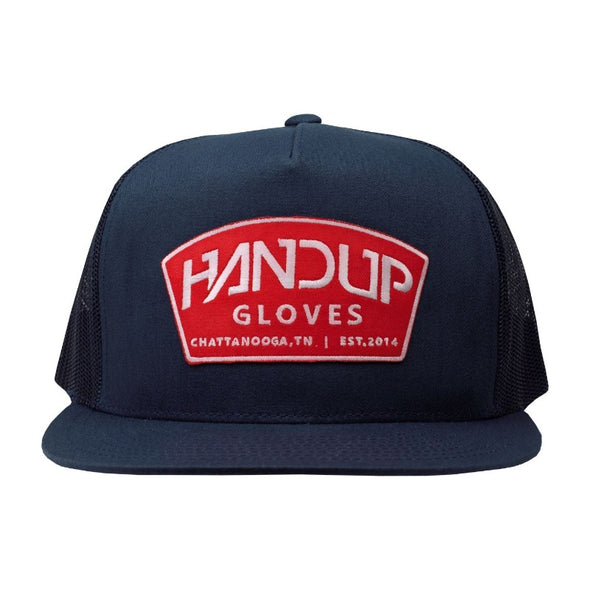 Hat - 5 Panel - Navy with Red Patch