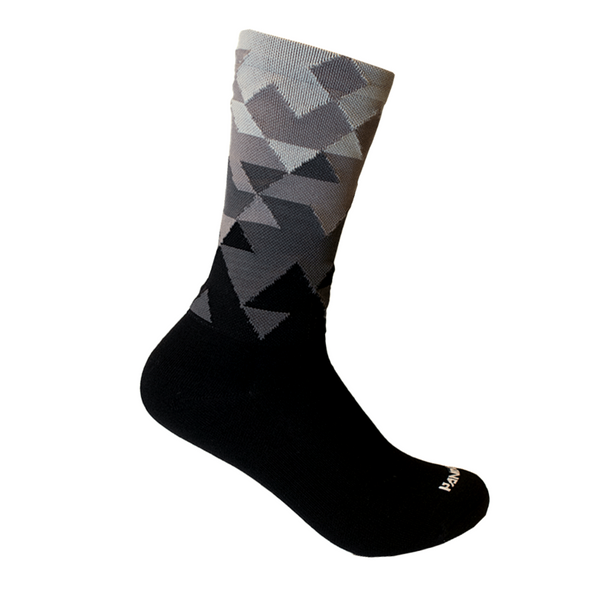 black and white sock - cycling sock - hiking sock  - athletic sock - handup sock