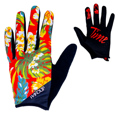 the Handup Mountain bike Glove, OG Floral was first and we now have a colorful version. This Hawaiian shirt floral glove is ready for action!