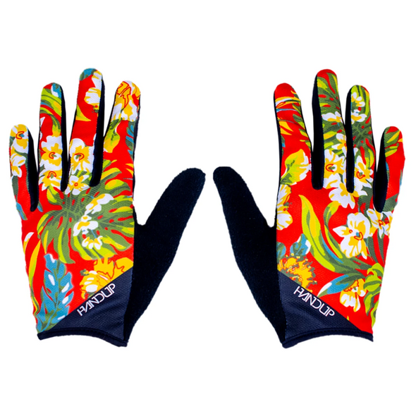 the Handup Mountain bike Glove, OG Floral was first and we now have a colorful version. This Hawaiian shirt floral glove is ready for action! Hang on to your handlebars with Handup Gloves