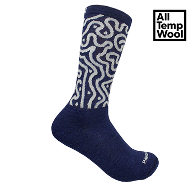 Socks - Navy Switchback Wool