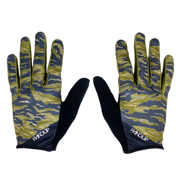 These camo Handup gloves or Camo Mountain bike gloves are ready to shred the trail. Get the new Send it Gloves in tiger camo