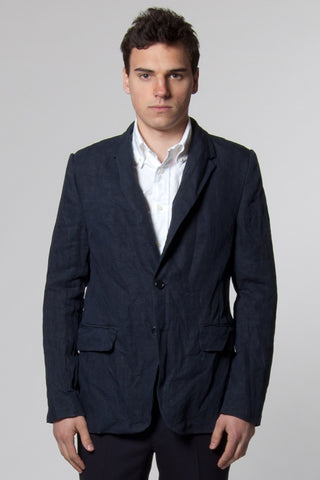 Curtis Navy Crushed Linen Single Breasted Blazer