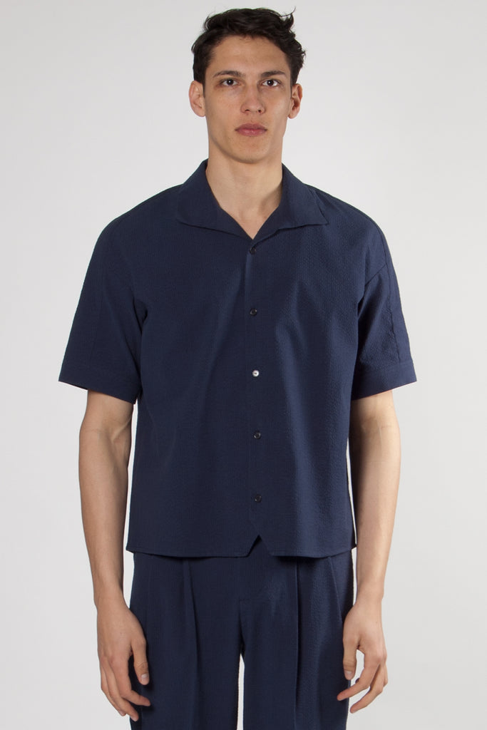 Don Shirt navy seersucker