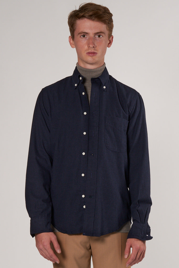 Classic Button Down Flannel Shirt navy