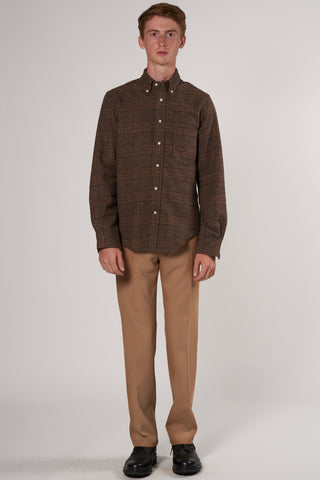 Two-Sided Plaid Shirt brown, khaki & grey