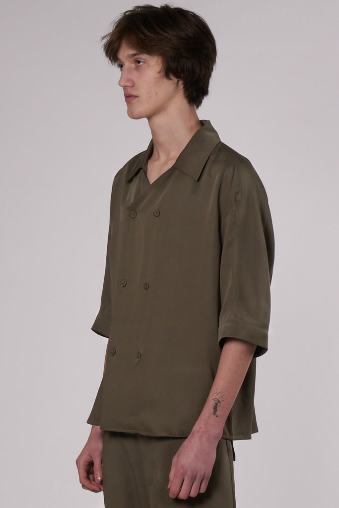 Jared Doublebreasted Shirt olive tencel