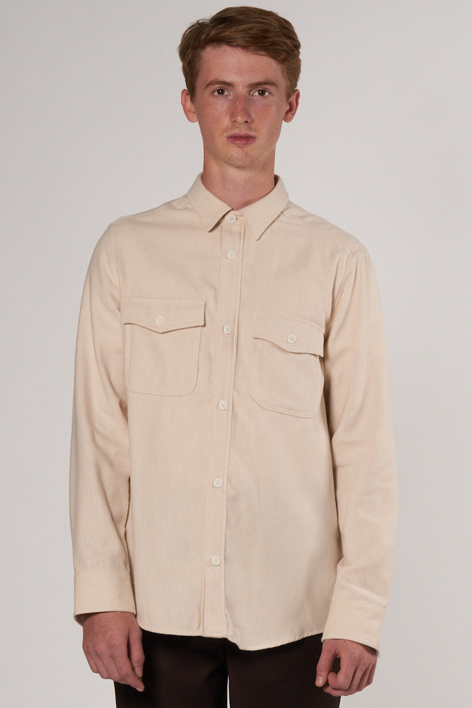 Lamport Shirt creme flannel