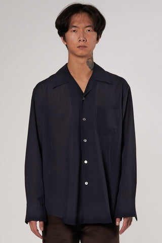 Loco Shirt dark navy tech wool