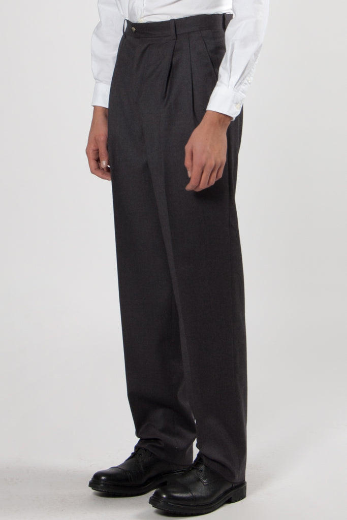 Paul High Waisted Large Pleated Pants slate grey