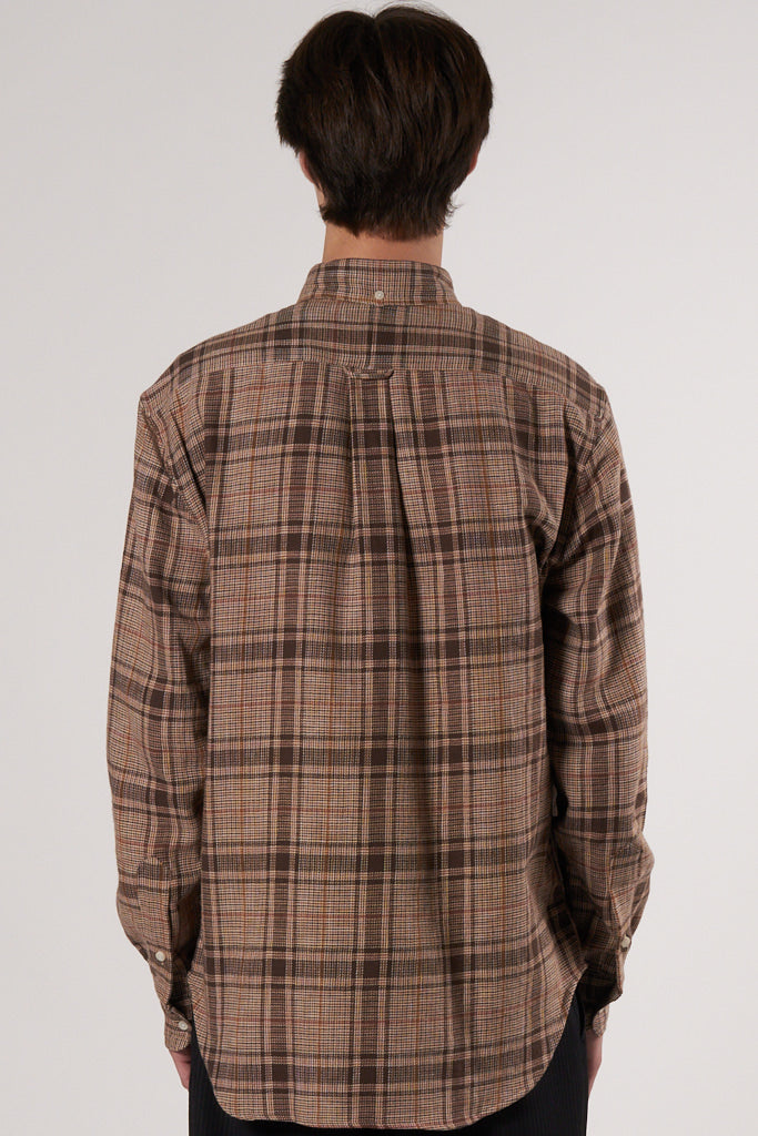 Cotton Tweed Check Shirt brown,red & beige