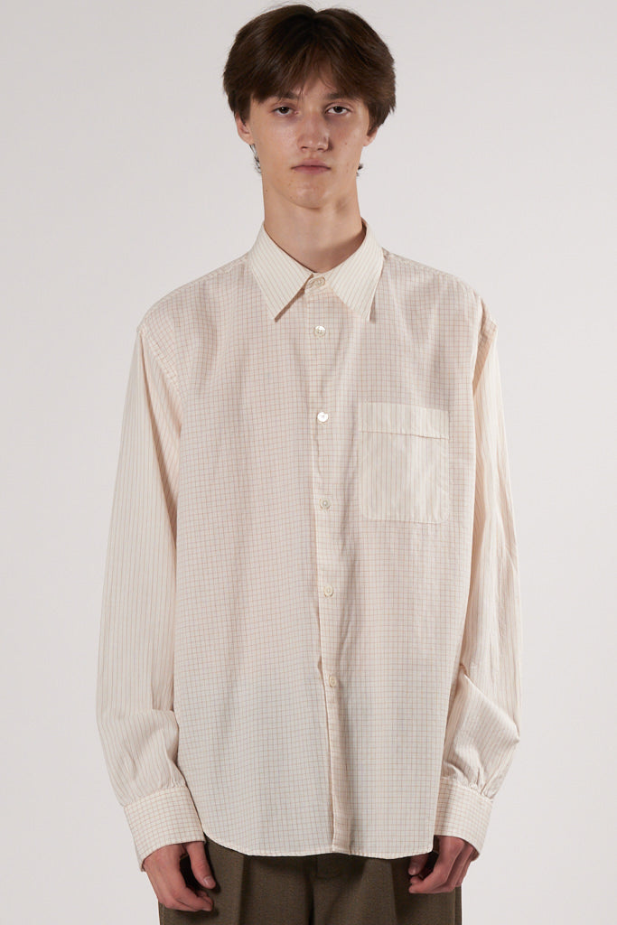Policy Shirt check stripe cotton