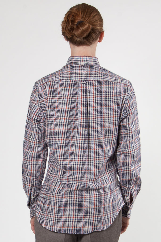 Two-Sided Houndstooth Shirt white, navy & red