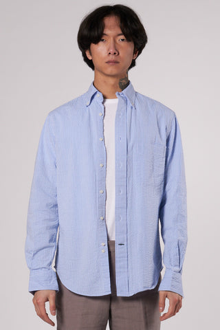 Classic Seersucker Shirt blue tonal stripe