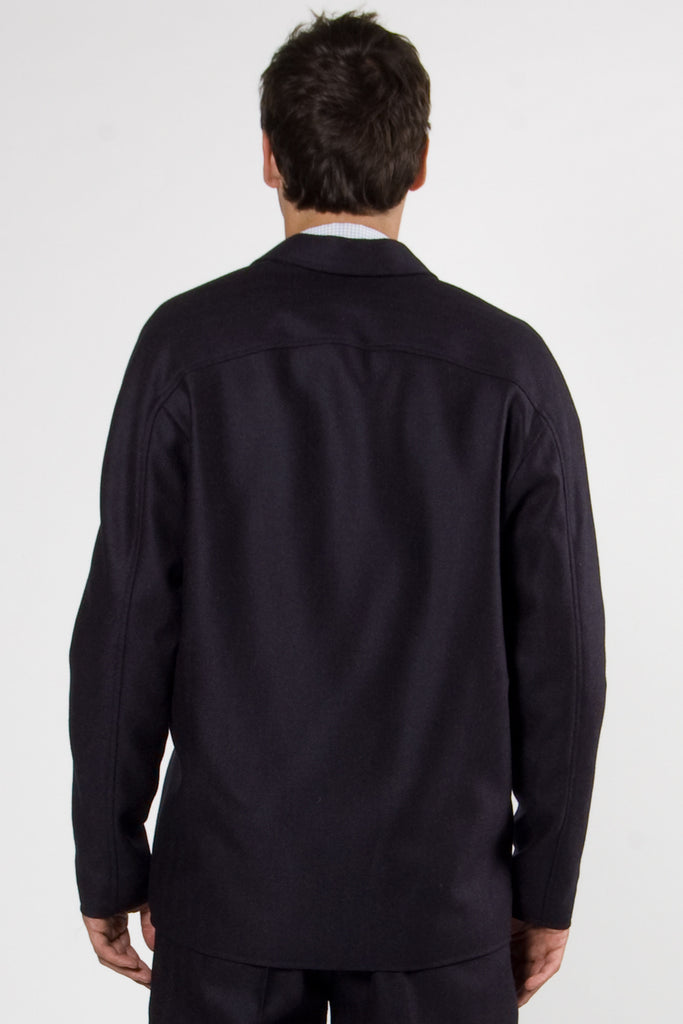 Stuart Zipper Jacket navy fishbone