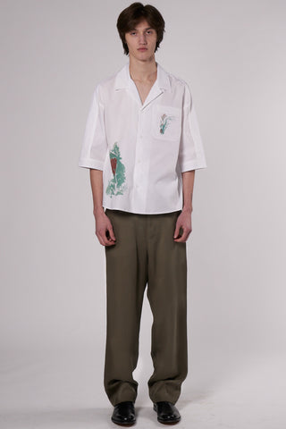 Ted Bowling Shirt white tree print