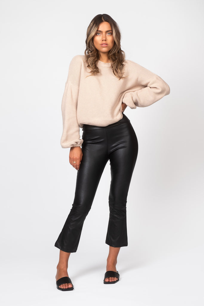 Cropped Leather Pants - Black