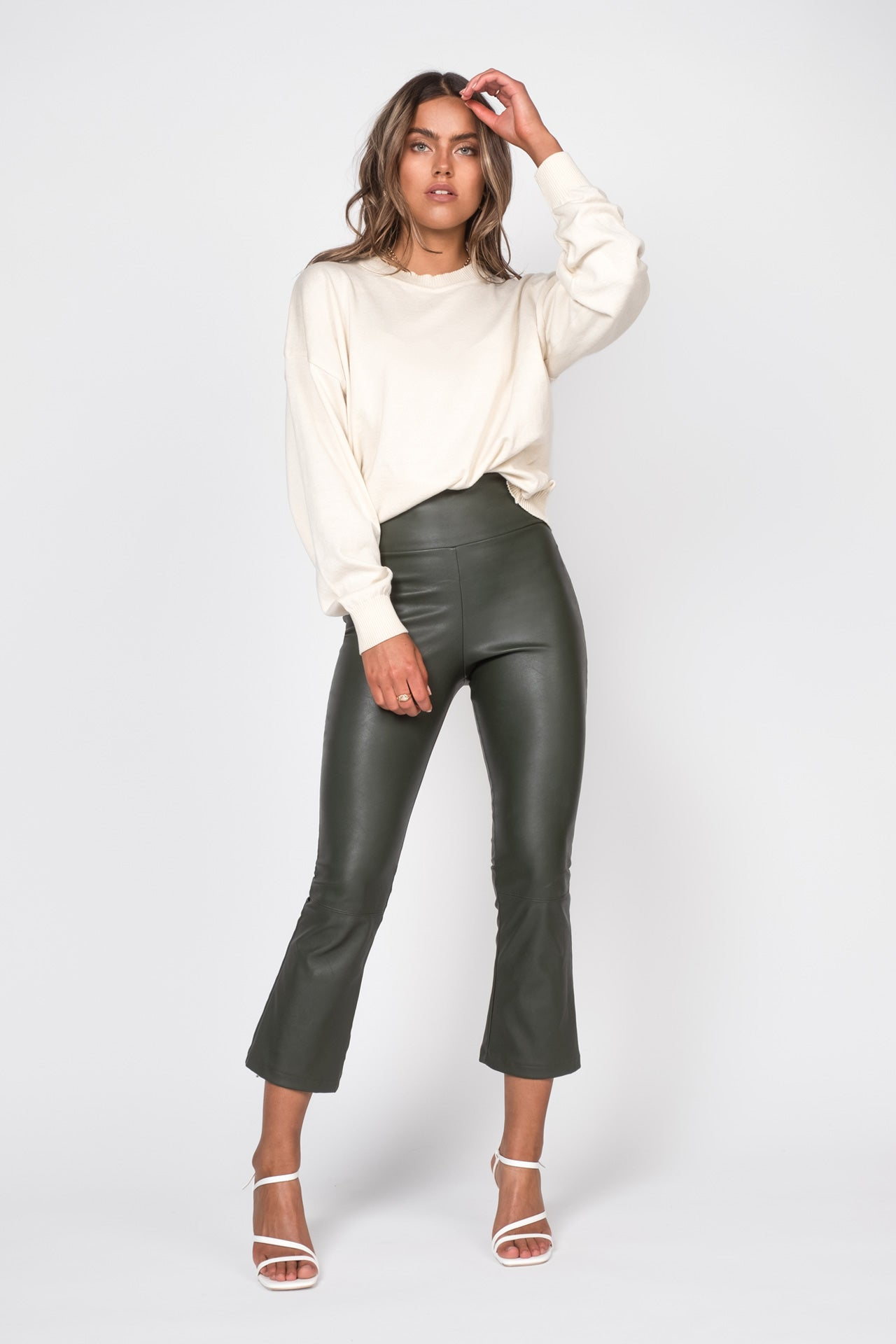 Cropped Leather Pants - Dark Green