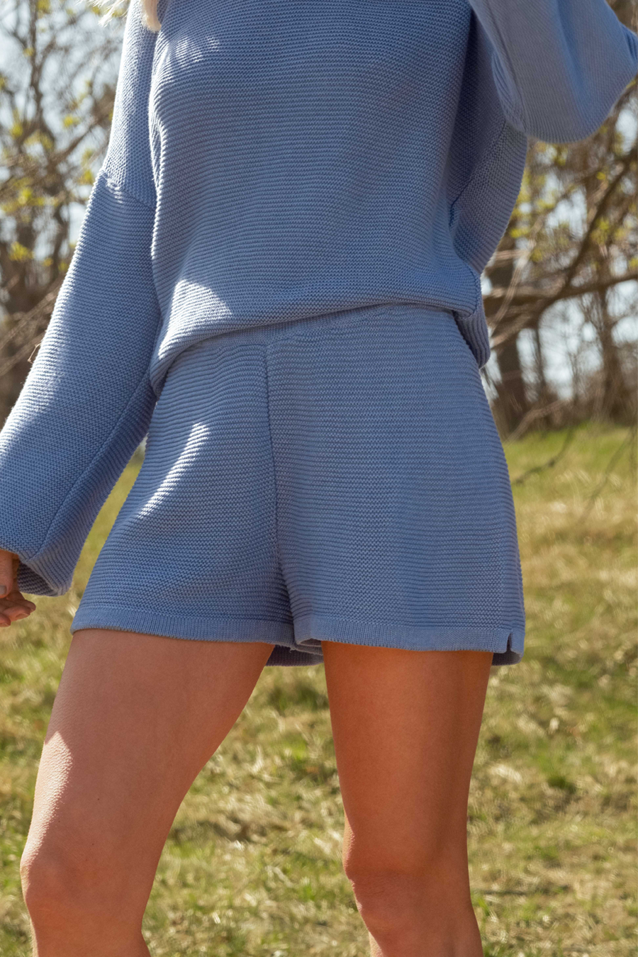 Knitted Shorts - Blue