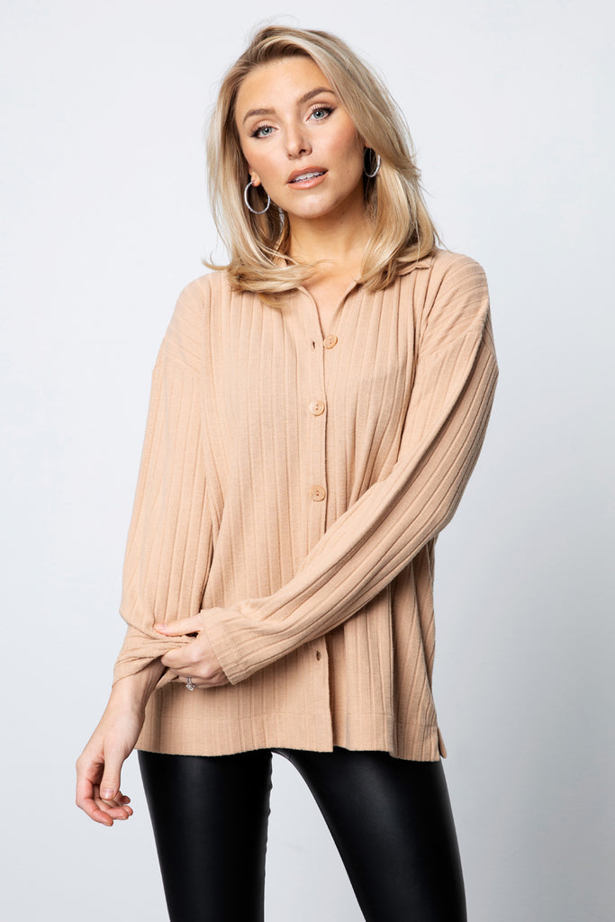 Ribbed Button Down Shirt - Beige