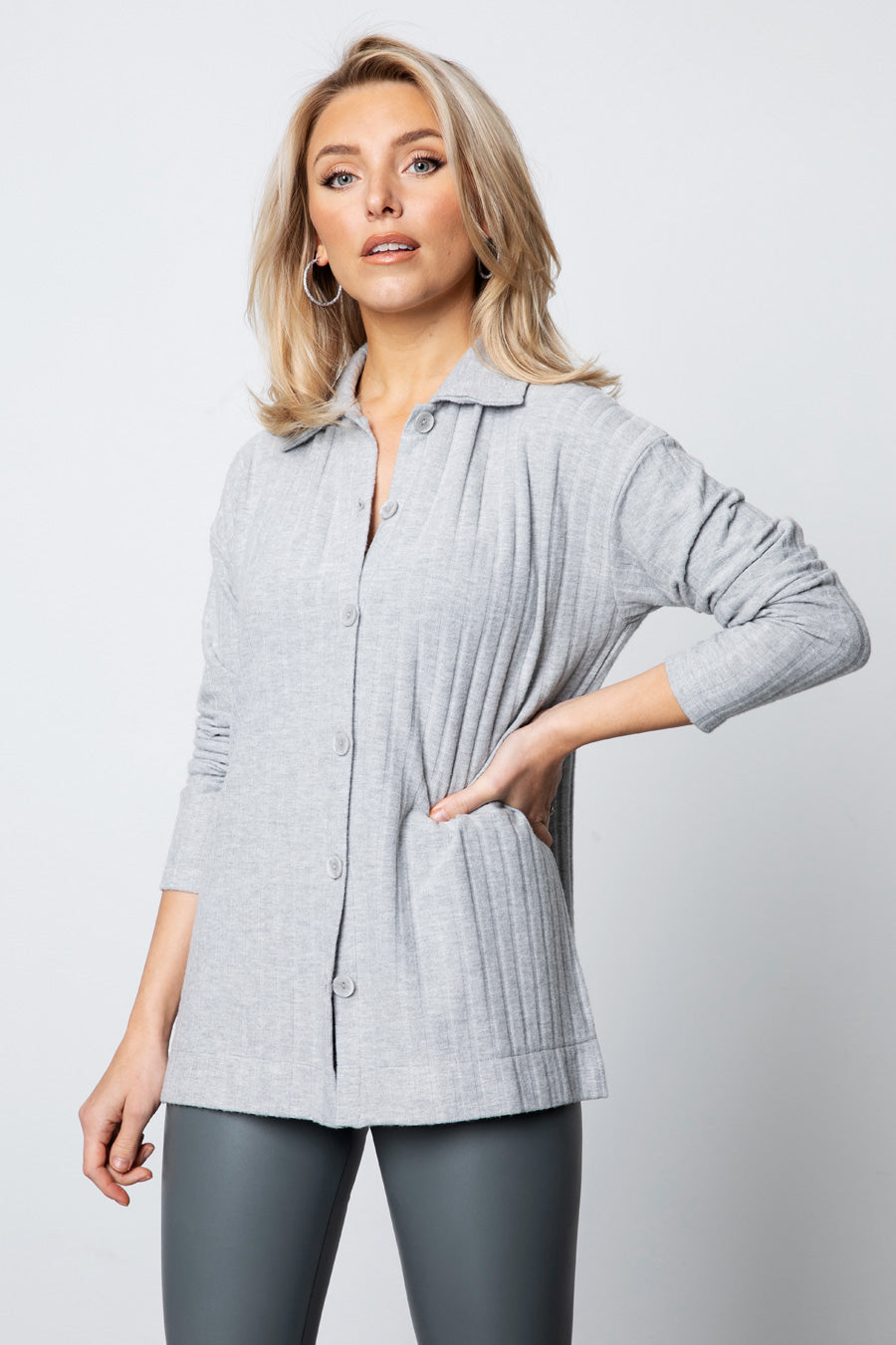 Ribbed Button Down Shirt - Solid Grey