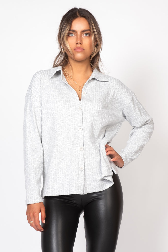 Ribbed Button Down Shirt