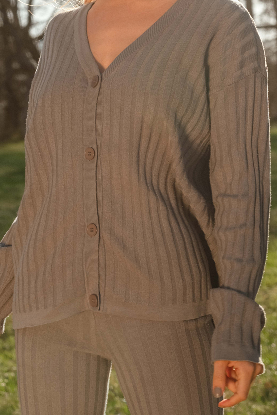 Ribbed Cardigan - Taupe grey