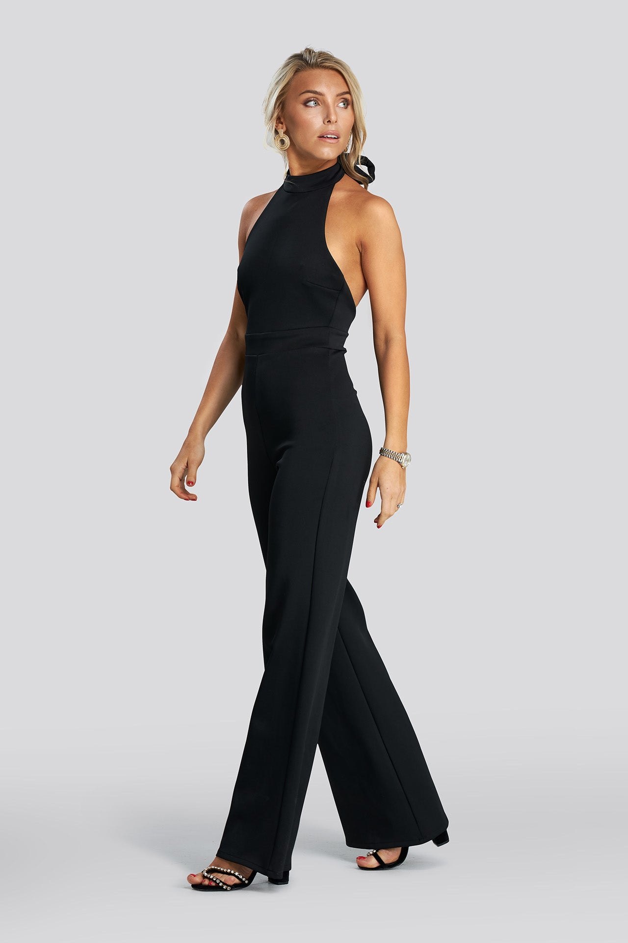 Halterneck Jumpsuit - Black