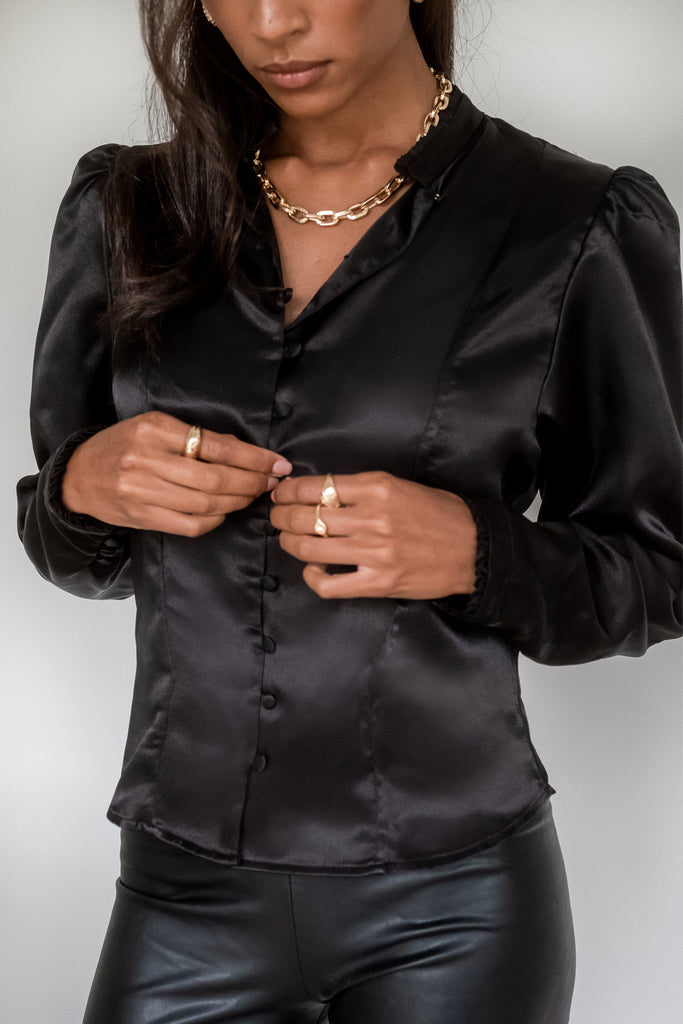 Satin Blouse - Black