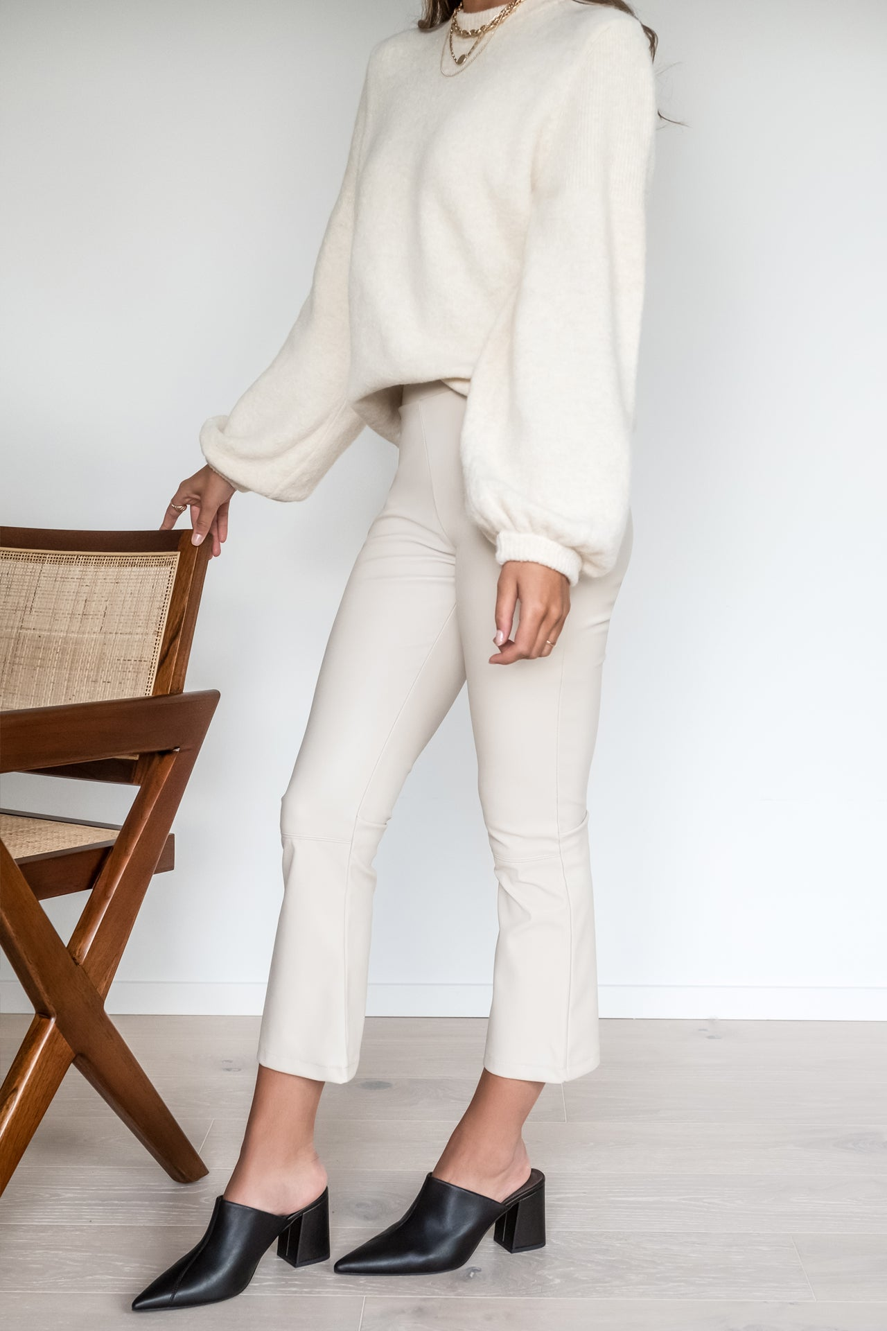 Cropped Leather Pants - Beige
