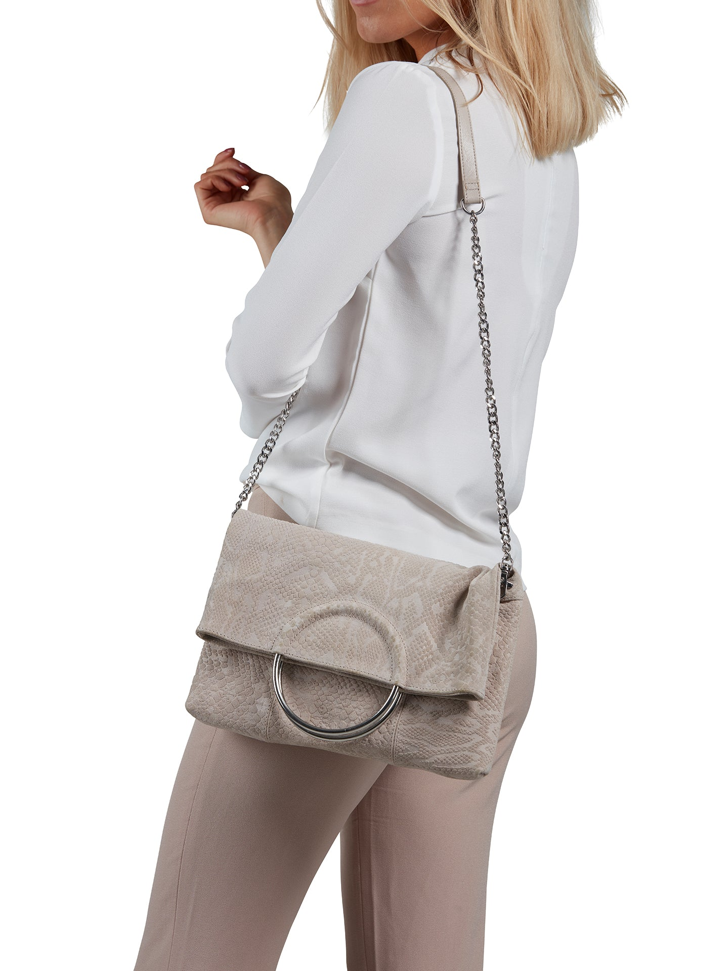 Suede Shoulder Bag - Sand