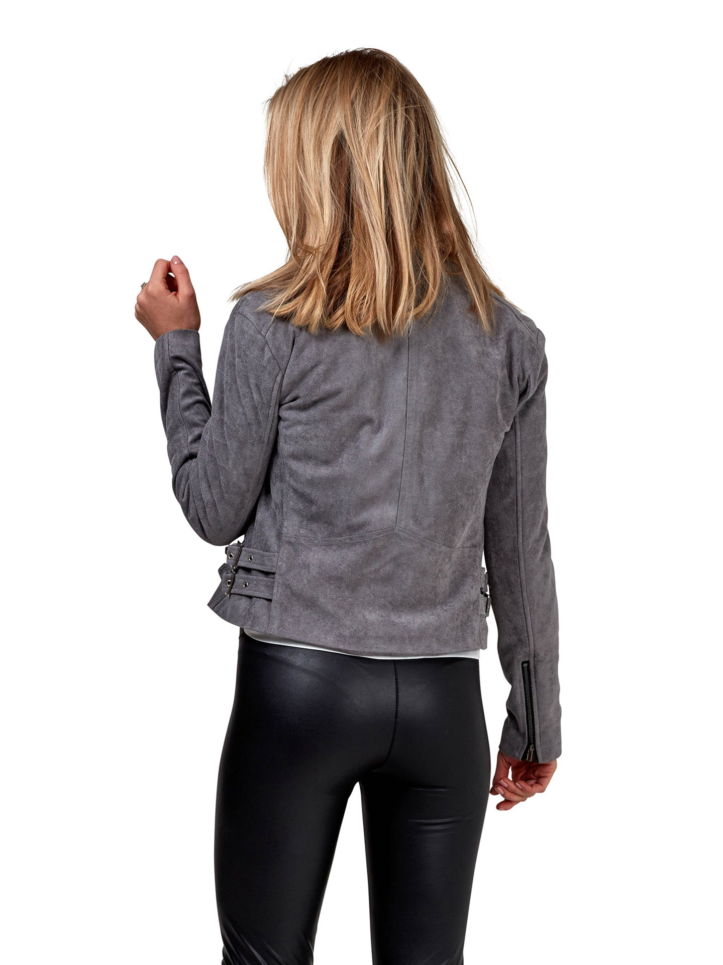 Suede Biker Jacket - Grey