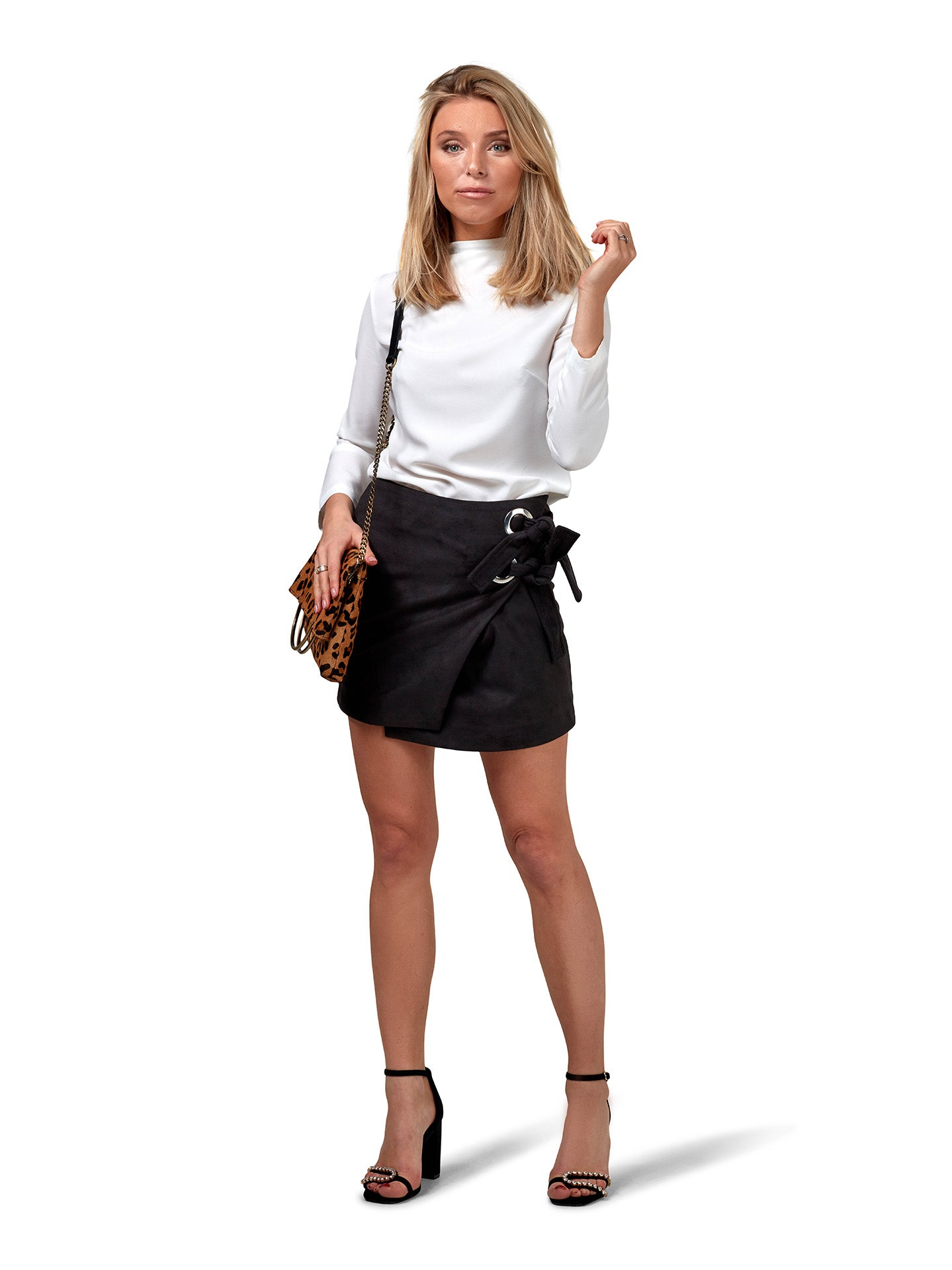 Wrap Suede Skirt - Black