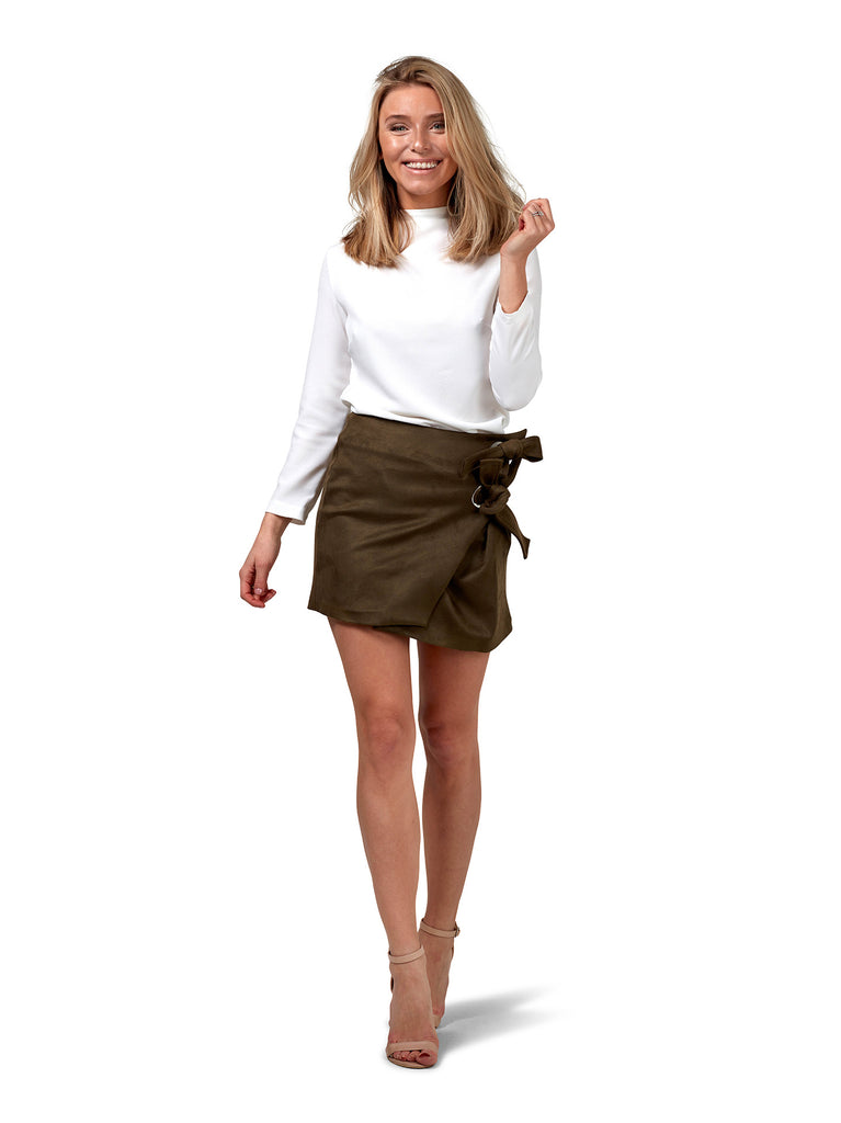 Wrap Suede Skirt - Green