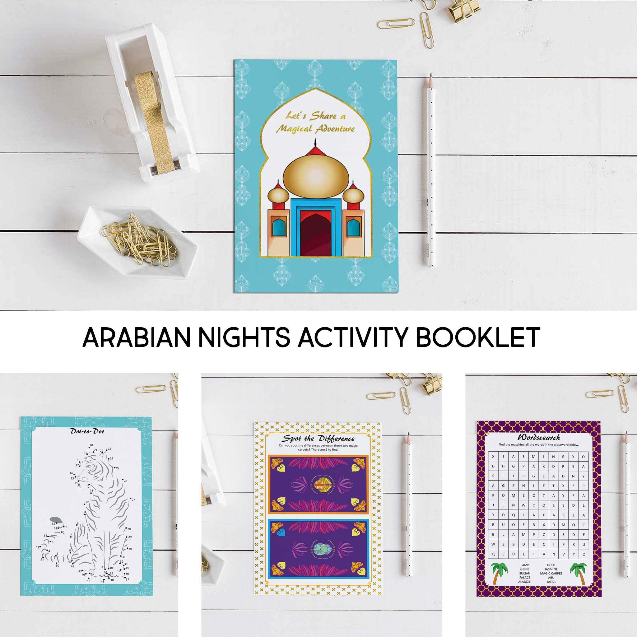 Arabian Nights Party Activity Booklet Bundle - 10 people - The Party Pack Co