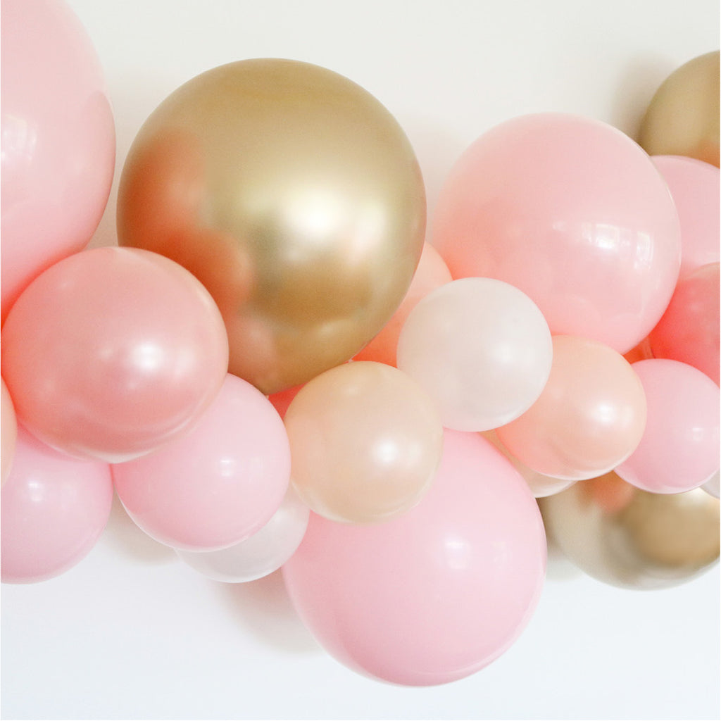 *PRE-ORDER* Biodegradable Pink & Gold Balloon Garland - DIY Kit - The Party Pack Co
