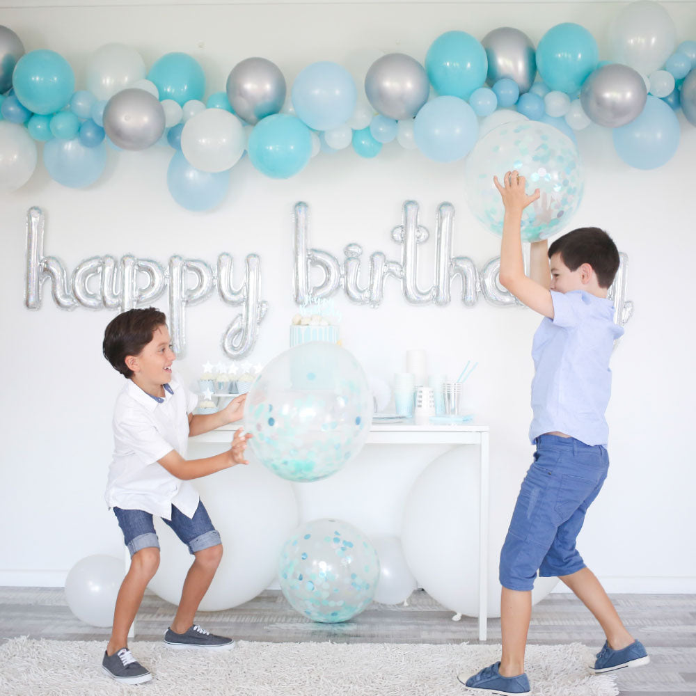 Blue & Silver Balloon Garland - DIY Kit - The Party Pack Co